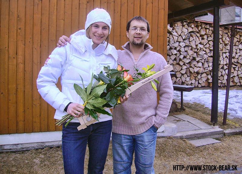 án Medveď a Anastasia Kuzmina po zlatej medaile v roku 2010